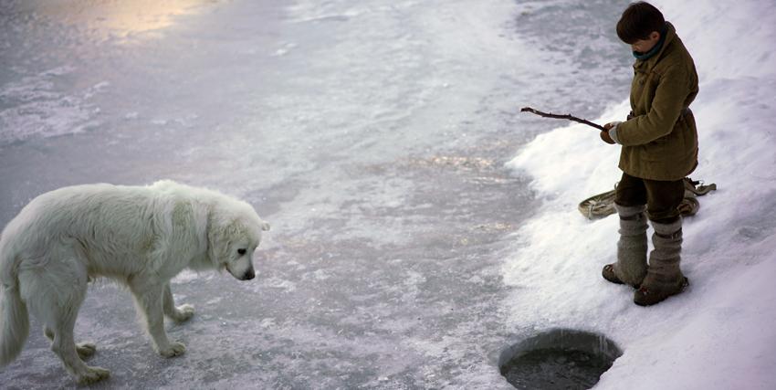 sebastien pesca in un laghetto ghiacciato, mentre belle osserva l'acqua - nerdface
