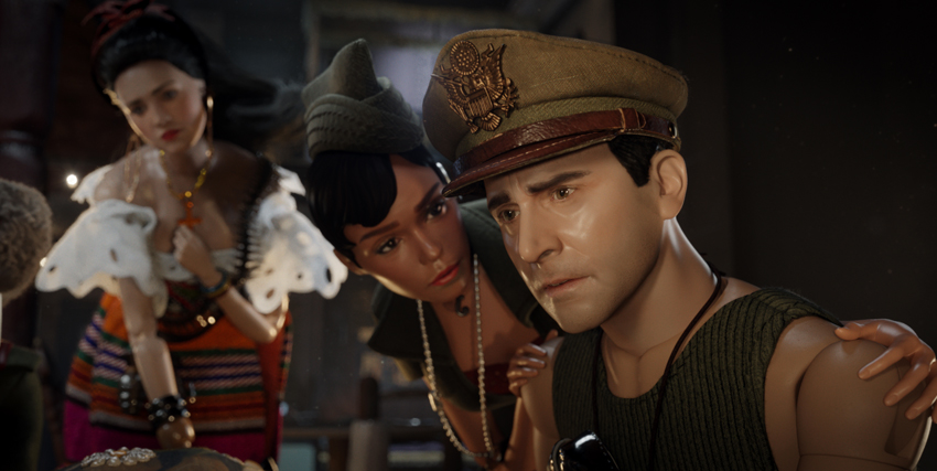 il bambolotto di mark hogancamp, vestito da soldato della seconda mondiale, è assorto ed è consolato dalla bambola di janelle monae - nerdface