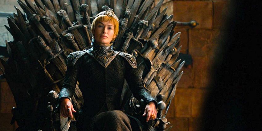 cersei lannister è seduta sul trono di spade - nerdface