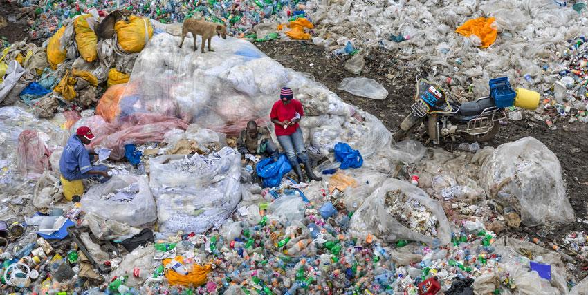 alcuni uomini si riposano dentro una discarica di plastica e sulla sommita di un cumulo c'è un cane - nerdface