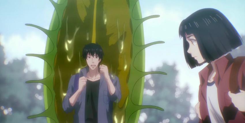 un uomo sembra sul punto di essere inghiottito da una pianta carnivora, mentre una ragazza lo guarda indifferente - nerdface