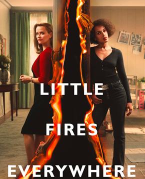 la locandina ufficiale di little fires everywhere mostra due donne separate da una fiamma - nerdface