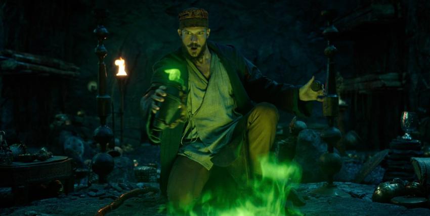 un mago sta lanciando un incantesimo tra luci verdi e pietre arcane - nerdface