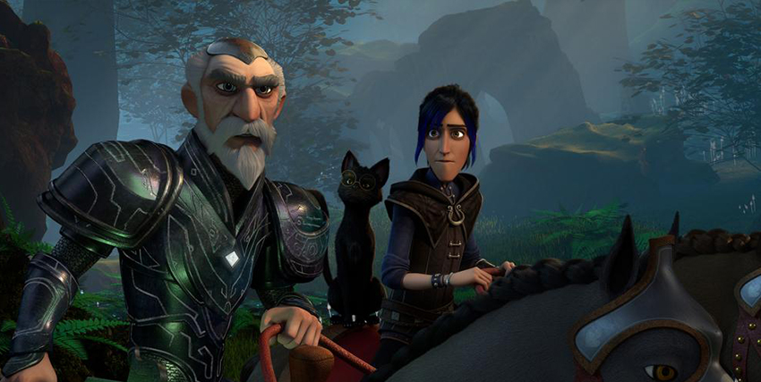 il giovane protagonista è a cavallo e guarda preoccupato un uomo più adulto davanti a lui - nerdface