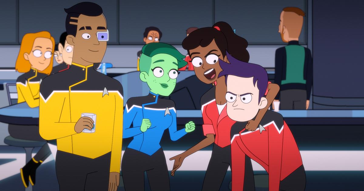 i nuovi amici di lower decks si conoscono sul ponte della nave - nerdface