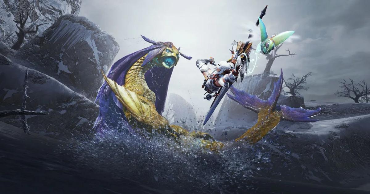 Un personaggio combatte contro un mostro acquatico - nerdface