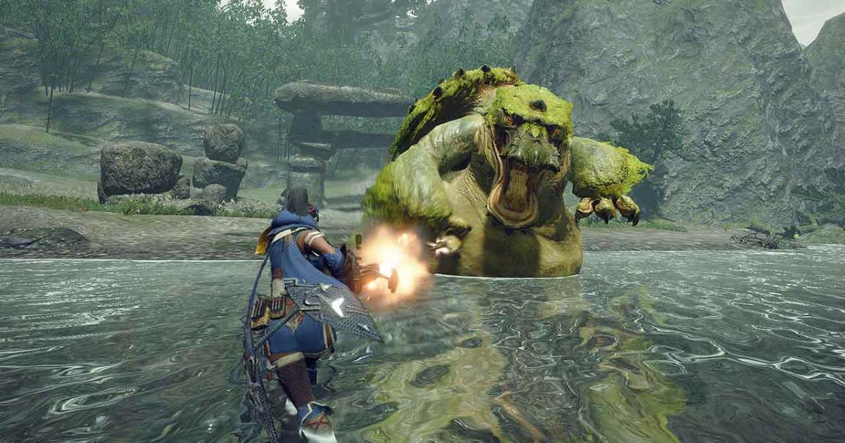 Un personaggio con un arma infuocata in mano pronto a combattere un mostro simile a un gigantesco ippopotamo - nerdface
