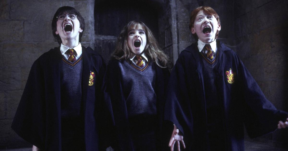 Harry, Hermione e Ron urlano in una dei film di Harry Potter - nerdface