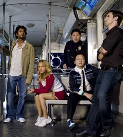 Il cast di Heroes ritratto in un vagone della metropolitana - nerdface