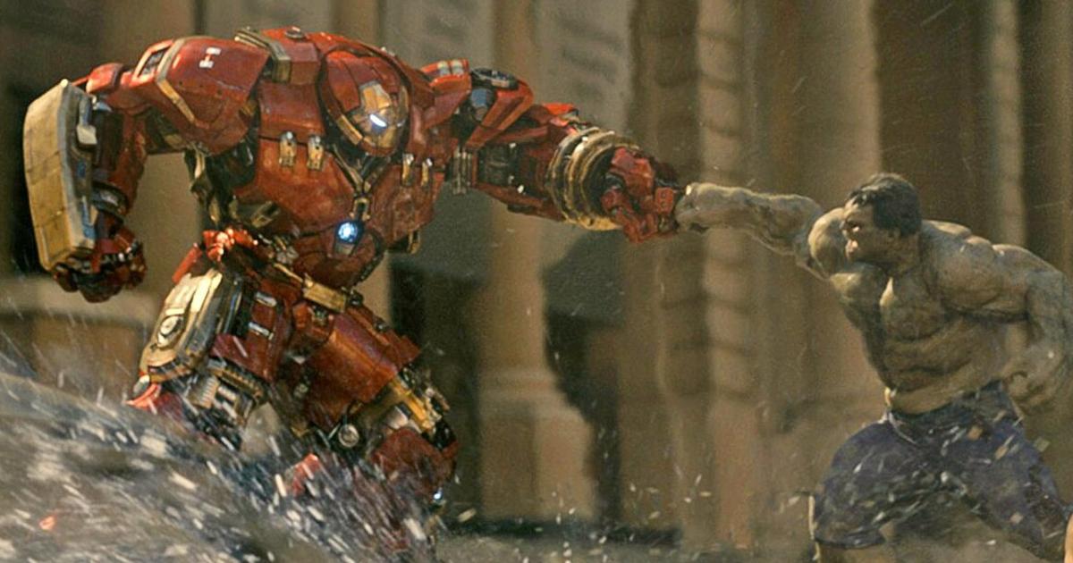 hulk e iron man nella nuova tuta hulkbuster si prendono a pugni - nerdface