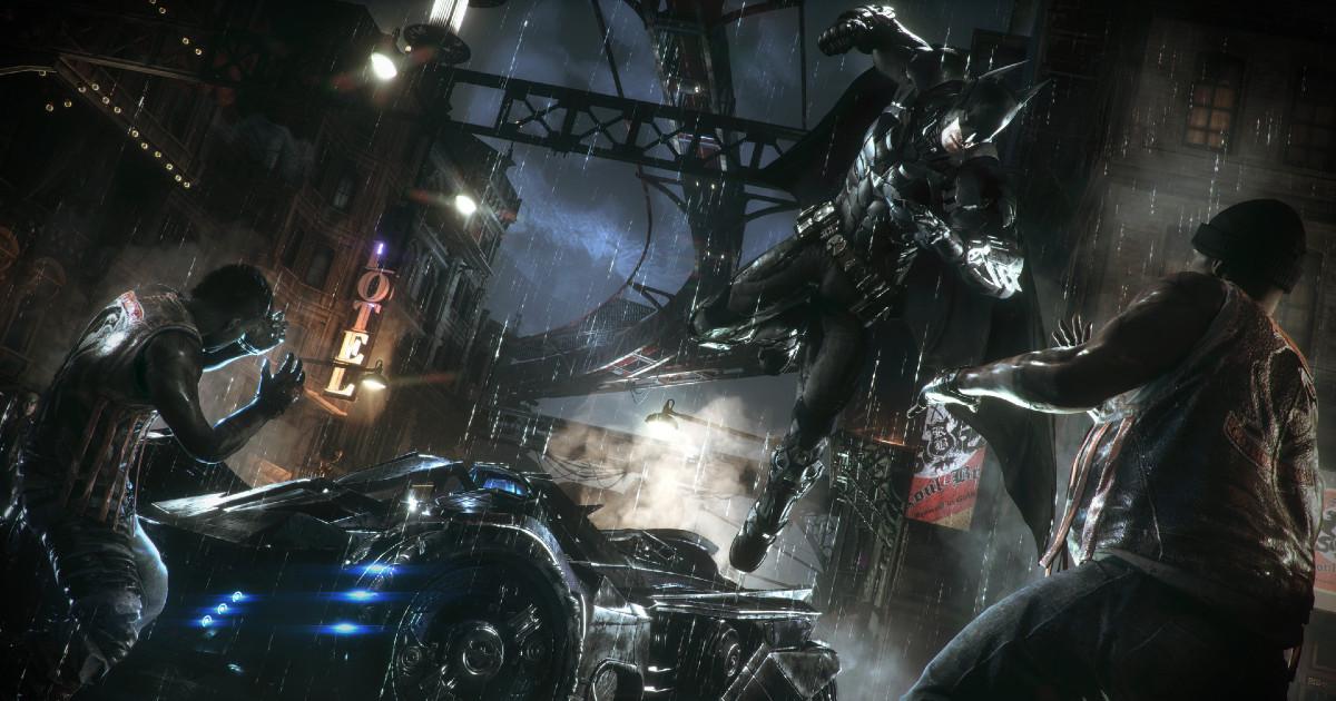 Batman salta dalla Batmobile per colpire un nemico - nerdface