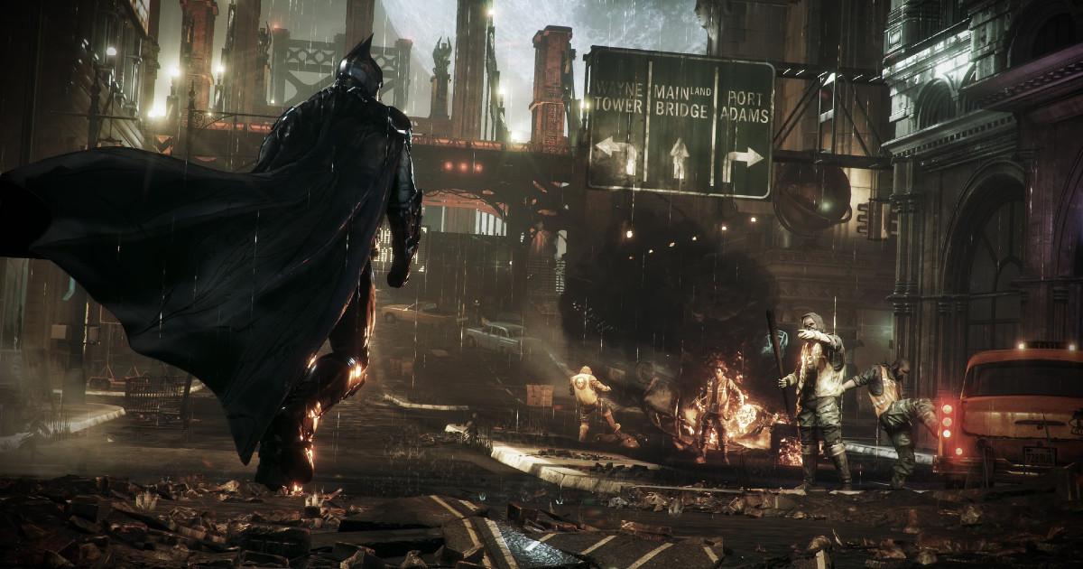 Batman in primo piano, con sullo sfondo una via distrutta - nerdface