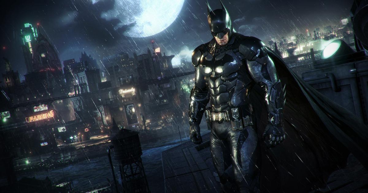 Batman in primo piano con sullo sfondo la città di Gotham di notte - nerdface