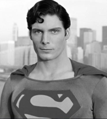 Primo piano di Christopher Reeve nei panni di Superman - nerdface