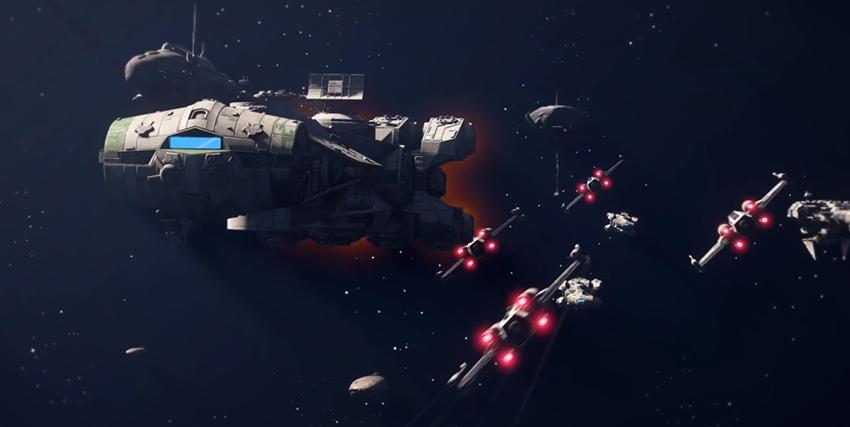 Delle navicelle spaziale viaggiano verso la nave madre in Star Wars Squadrons - nerdface
