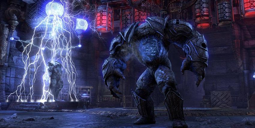 Un colosso vicino a una macchina che genera fulmini in The Elder Scrolls: Stonethorn - nerdface