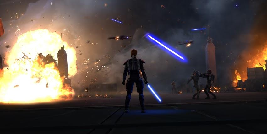uno jedi armato di spada laser osserva la distruzione e le esplosioni di fronte a sé - nerdface