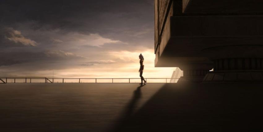 una jedi cammina all'alba su un parapetto - nerdface