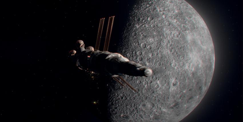 un'astranave in viaggio nello spazio passa davanti la luna - nerdface