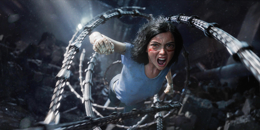 alita è furiosa mentre si lancia in un attacco schivando una serie di tentacoli metallici - nerdface