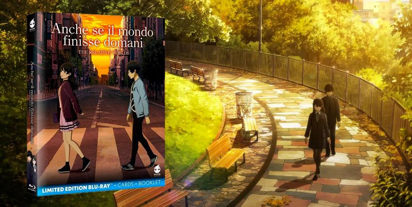 un'immagine dell'anime anche se il mondo finisse domani con i due protagonistri intenti a passeggiare fa da sfondo al packaging del blu-ray in lited edition di koche media e anime factory - nerdface