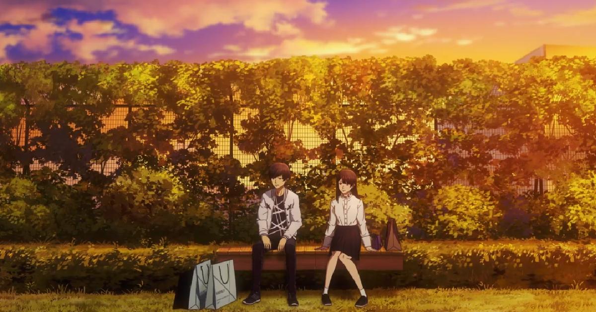 i due protagonisti di anche se il mondo finisse domani sono seduti su una panchina in mezzo a un parco, al tramonto - nerdface