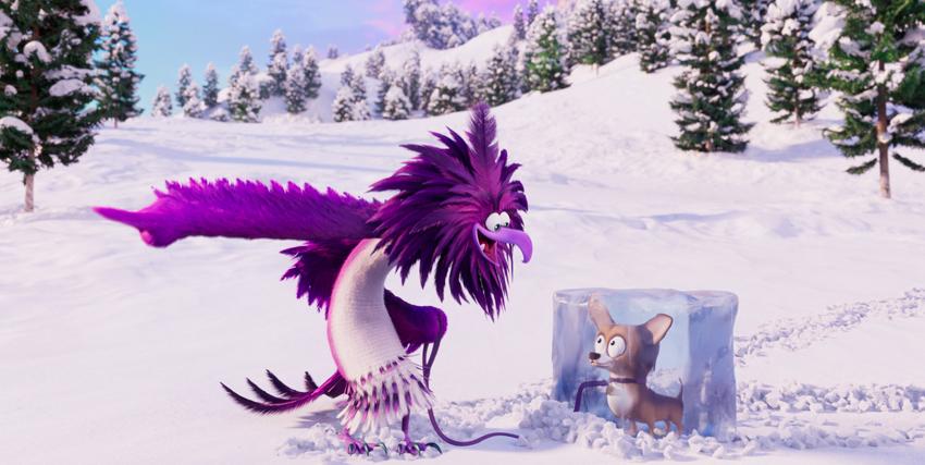 il nemico di angry birds 2 è un uccello viola che tiene prigioneiero un cagnolino dentro un cubo di ghiaccio - nerdface