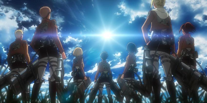 un gruppo di soldati guarda verso il cielo, dove il sole brilla - nerdface