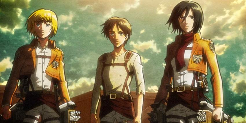 tre protagonisti dell'armata contro i giganti guardano avanti con sguardo fiero - nerdface