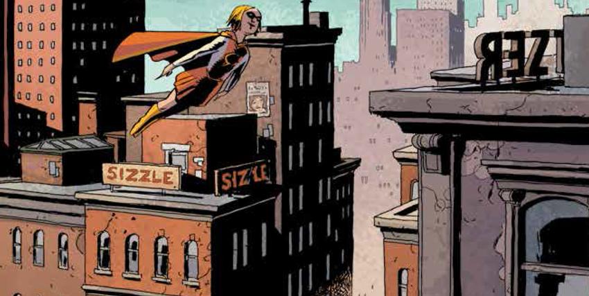 supereroina in volo tra i palazzi della città - nerdface