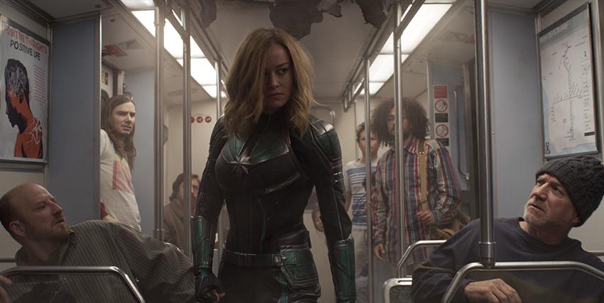 Captain Marvel in metro - nerdface