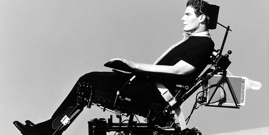 Christopher Reeve sulla sedia a rotelle - nerdface