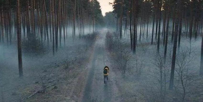 il protagonista della serie va in bicicletta in mezzo a un bosco pieno di foschia - nerdface