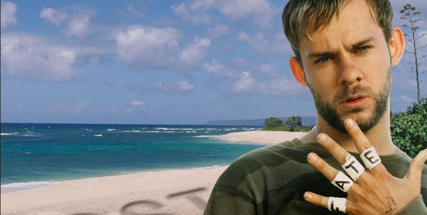 Primo piano di Dominic Monaghan nei panni di Charlie in Lost, sullo sfondo una spiaggia - nerdface