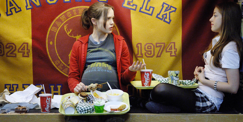 Elliot Page in Juno mangia cibo da fast food in compagnia di un'amica - nerdface
