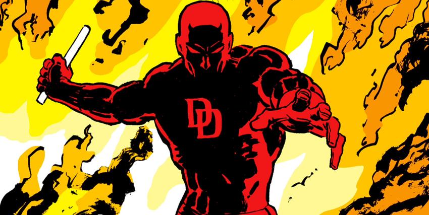 Primo piano di Daredevil circondato dalle fiamme disegnato da Frank Miller - nerdface