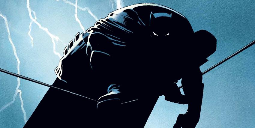 Batman accovacciato sopra un cavo disegnato da Frank Miller - nerdface