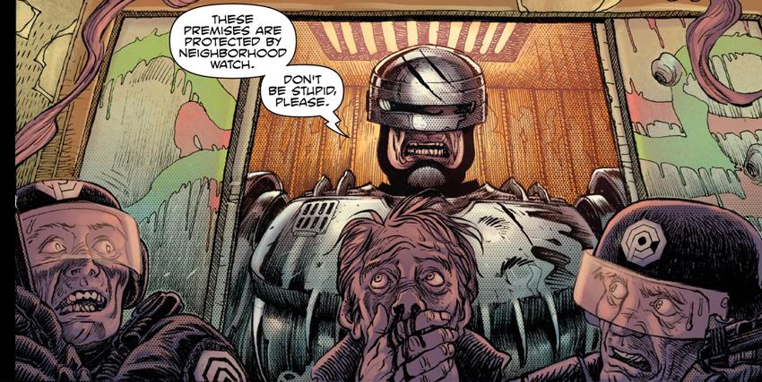 Primo piano di Robocop disegnato da Frank Miller - nerdface