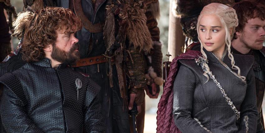 tyrion lannister e daenerys targaryen si osservano con sospetto - nerdface