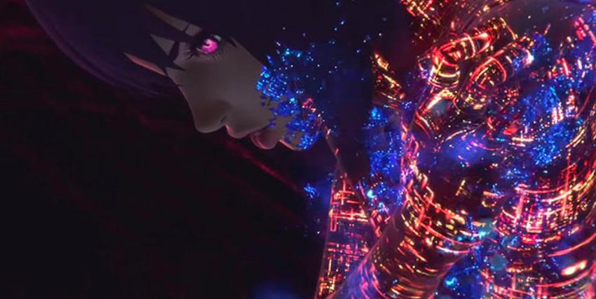 la protagonista si illumina di migliaia e miglkiaia di connessioni luminose sul suo corpo, come se fosse una città trafficata di notte - nerdface