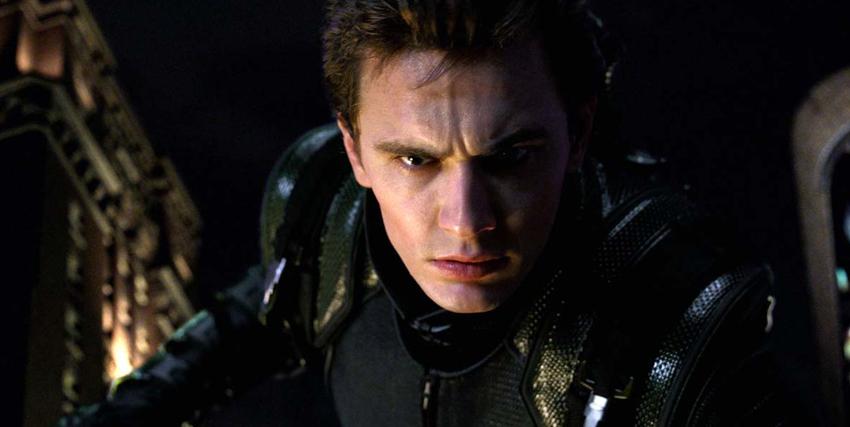 Primo piano di James Franco nei panni di Harry Osborn in Spider-Man - nerdface