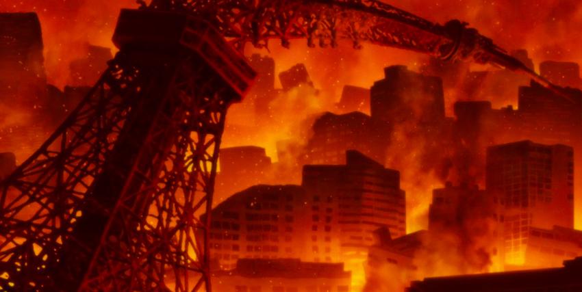 la copia della torre eiffel è piegata a metà su uno scenario di distruzione totale in cui tokyo e rossa per gli incendi - nerdface