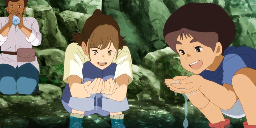 due adolescenti bevono felici da una pozza d'acqua - nerdface