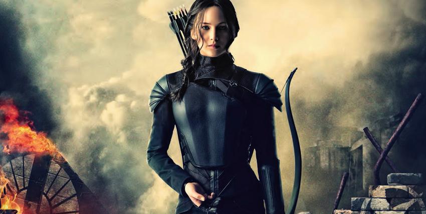 Primo piano di Jennifer Lawrence nei panni di Katniss in Hunger Games - nerdface