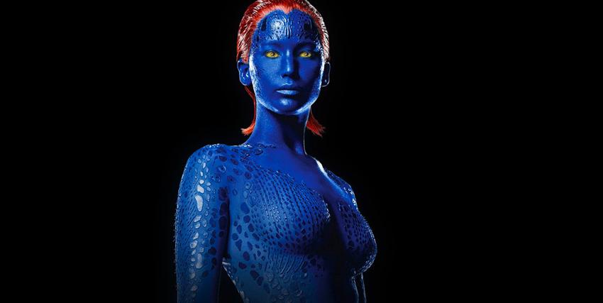 Primo piano di Jennifer Lawrence nei panni di Mystica in X-Men - nerdface