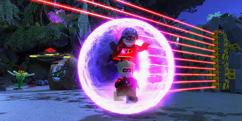 I due figli della famiglia degli incredibili nel videogioco lego all'interno di un campo di forza - nerdface
