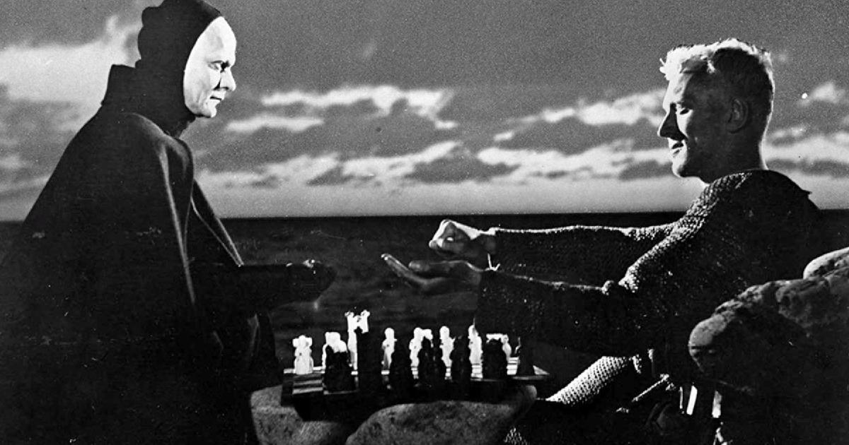 max von sydow gioca a scacchi con la morte nel celebre film il settimo sigillo - nerdface