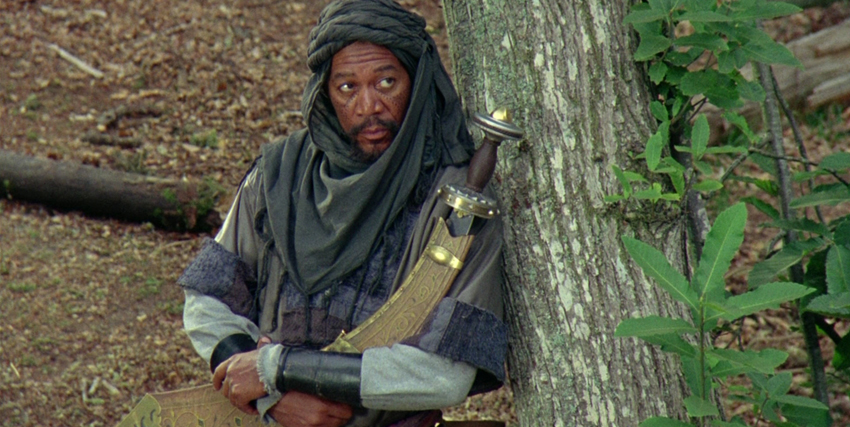 Morgan Freeman in costume in Robin Hood: Principe dei Ladri - nerdface