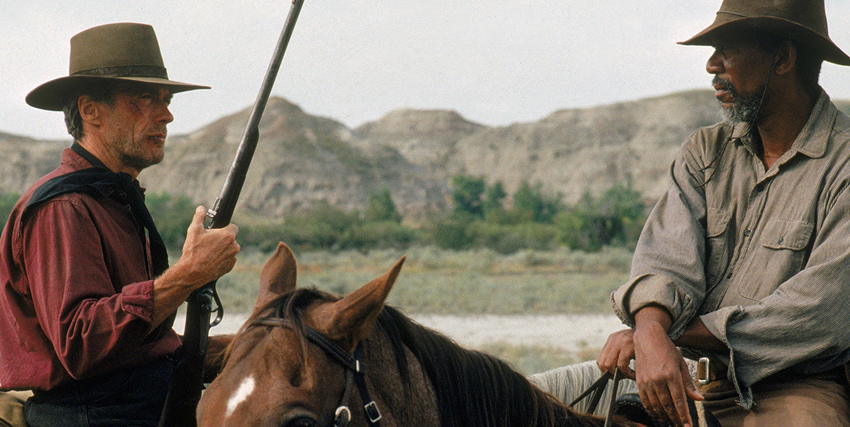Morgan Freeman a cavallo insieme a Clint Eastwood - nerdface
