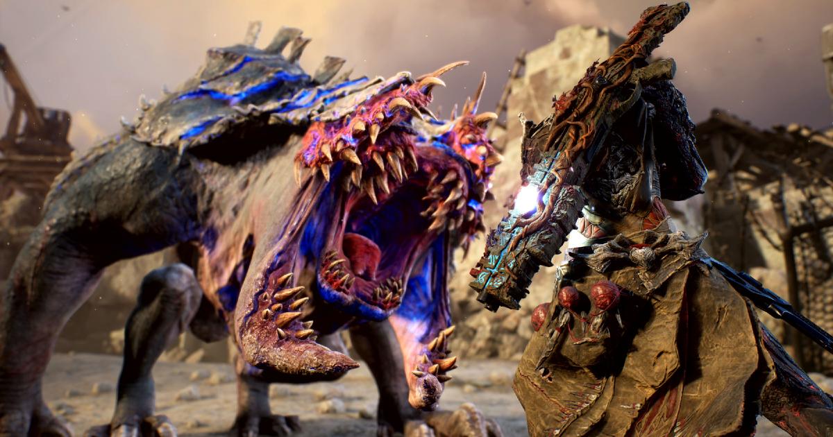 Una belva aliena ruggisce di fronte a un guerriero - nerdface